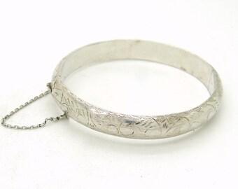 Edwardian Style Sterling Silver Bangle Bracelet, Engraved Cuff Bracelet, Vintage Jewelry, Hinged Bangle Bracelet, English Silver Bracelet