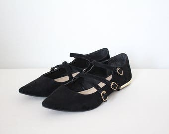 Black Strappy Suede Flats size 7