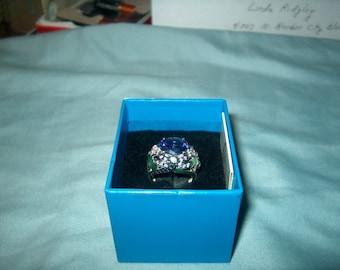 Vintage Victoria Wieck Ring, Sterling Silver, Genuine Gemstones, Purple,  Dragonfly on side, WAS 125.00 - 40% = 75.00