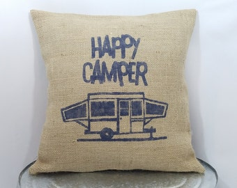 "Custom made rustic ""Happy Camper"" pop-up camper navy blue (or custom color) burlap pillow cover/sham - Custom size and color option!"