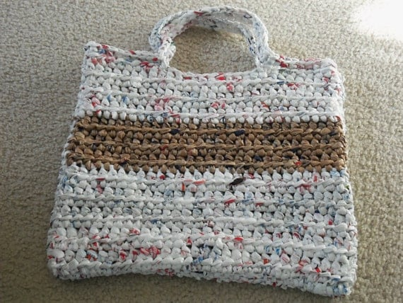 Tote made from recycled plastic bags (plarn)....FREE shipping!