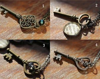key pendant necklace - gift for her - free shipping