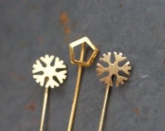 Golden Stick Pins - Set of 3