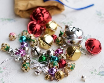 Jingle Bells - Instant Collection of 50 assorted vintage bells - Altered arts Assemblage Christmas Decor