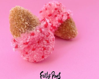 Raspberry Ripple Ice cream Pom Pom Earrings!