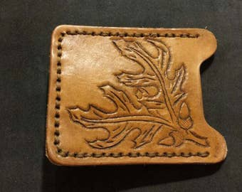 Hand tooled leather credit card money clip