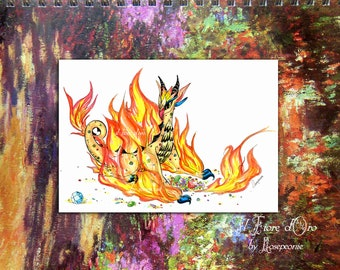 Sticker - Fire Spirit Dragon wyvern. Colour, printed on high quality autocollant paper, fantasy art Italy collection scrapbooking gothic