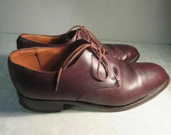 Vintage Burgundy Leather Handmade Mens Shoes - UK Size 7.5