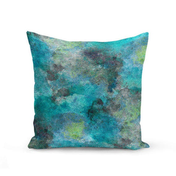 Throw Pillow Cover Teal Turquoise Lime Grey Modern Home Decor Part 94