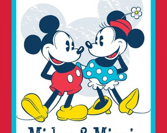 "Mickey and Minnie cotton panel -- approximately 35"" x 44"""