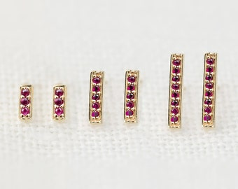 Ruby bar stud earrings in 14k yellow gold white gold rose gold, dainty tiny simple minimalist ruby studs July birthstone jewelry bar-e101