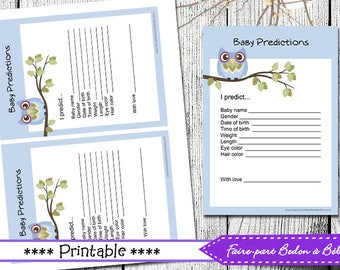 Digital printable - Baby Shower Owl Prediction Card  -  French and english