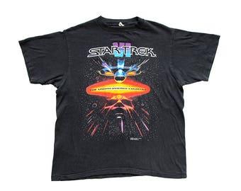 Vintage Star Trek The Undiscovered Country VI T-Shirt Large Black Movie Promo 90s Klingon USS Enterprise William Shatner Leonard Nimoy