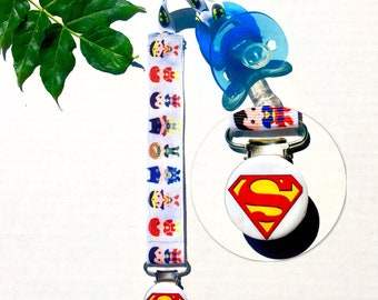 SUPERMAN BABY SUPERHEROS Paci Clip Pacifier Clip Baby Kids Child Soothie  Clip Pacifier Holder Fits All