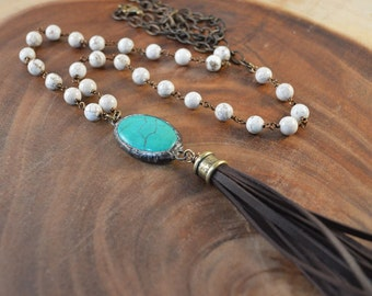 Tassel Necklace, Soldered Pendant, Bohemian Jewelry, Boho Necklace, Soldered Turquoise, Long Beaded Necklace,