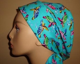 Woman's Hair wrap , Scrub Cap ,  Turtle