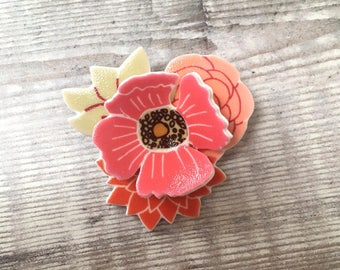 Flower brooch - Floral brooch - Flower pin - Flower pendant - Pink brooch - Gift for her - Mother's Day