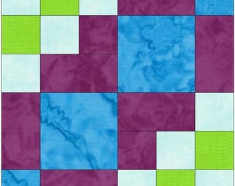 Domino 15 Inch Block Paper Template Quick Quilting Block Pattern PDF