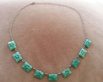 Vintage Sterling Peking Glass Necklace, Art Deco Green Glass Necklace