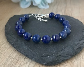 Lapis Lazuli Bracelet, Royal Blue Bracelet, September Birthstone, Gemstone Bracelet