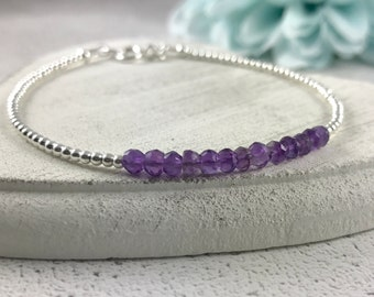 Amethyst Stacking Bracelet - February Birthstone Dainty Thin Sterling Silver Faceted Stacking Jewellery