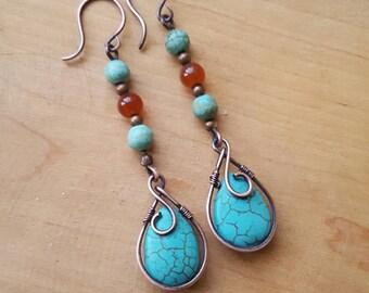 Wire wrapped earrings - boho chic earrings - turquoise earrings - copper earrings - gemstone earrings - turquoise jewelry - drop earrings