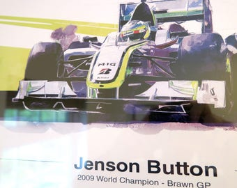 Jenson Button FRAMED F1 Art - Brawn GP Edition 2