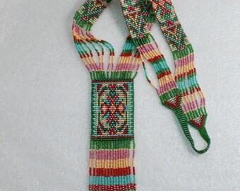 Ethnic Long Beaded Necklace, beadwoven long necklace , traditional beadwork .