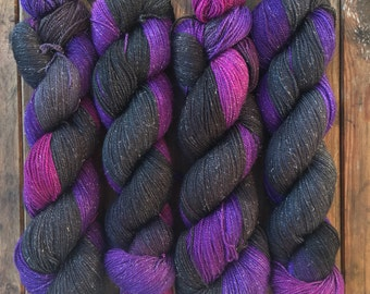 Distant Galaxies, hand-dyed soft merino nylon blend sparkle sock yarn UK