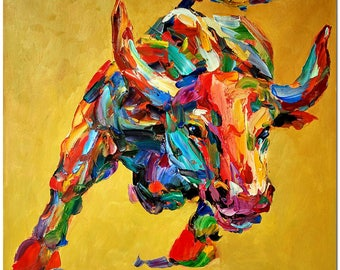 Hand Painted Impressionist Bull Oil Painting On Canvas - Modern  Multi-colored Animal Wall Art CERTIFICATE INCLUDED