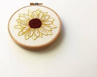 sunflower-MADE TO ORDER-custom sunflower embroidery- hand embroidered-home decor-hand lettered-embroidery hoop art