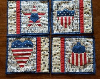 America ~ Mug Rug Set of Four