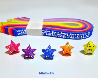 """Pack of 200 Strips Mini Size Luminous Hot-Stamping Lucky Stars Origami Paper Kits. """"Best Wishes"""". 24.5cm x 1.0cm. #HS107. (HS paper series)."""