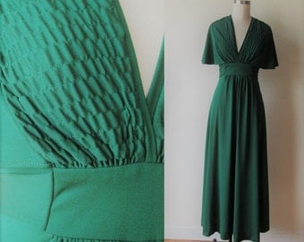 70's Jody T  Emerald Green Poly knit Christmas Maxi dress by Jody T of California size 8