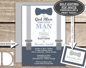 Baptism Invitation, Little Man, Baby Boy, Navy Blue, Gray, Bow Tie, Self-Editing PDF Invite, BONUS Thank You Card, Christening, Dedication