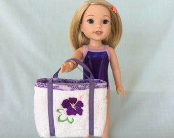 Purple Bathing Suit and Hibiscus Flower Beach Bag for Wellie Wisher/14.5 Inch Doll
