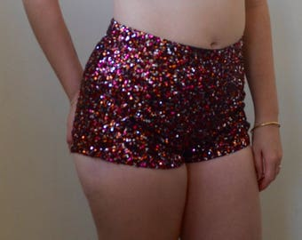 HOT disco booty shorts- glitter, shine and shimmy- S/M