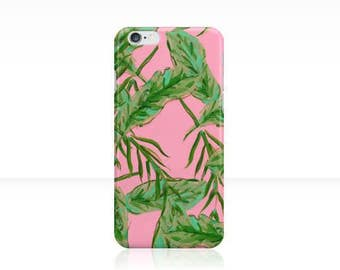 Pink and Green Palms: iPhone 6 iPhone 7 Case {iPhone 6s, iPhone 6 Plus, iPhone 5, iPhone 5c}