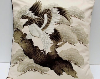 "Japanese Furoshiki Oriental 'Hawk in the Pines'' Cushion Cover 18.5"" x 19"""