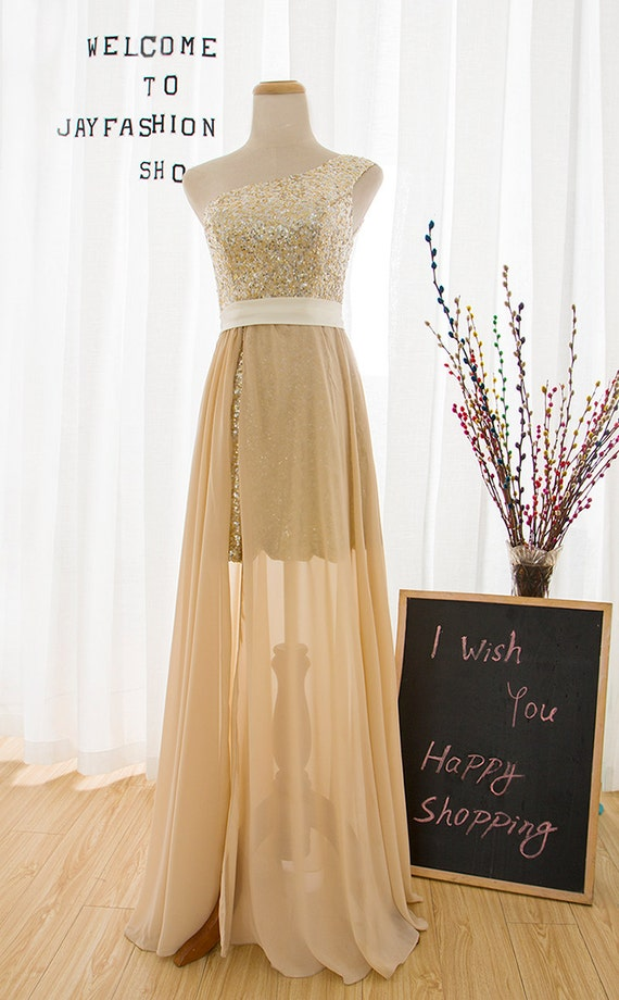 One shoulder champagne prom dress,gold sequin evening dress,translucent floor length bridesmaid dress,long separate homecoming dress