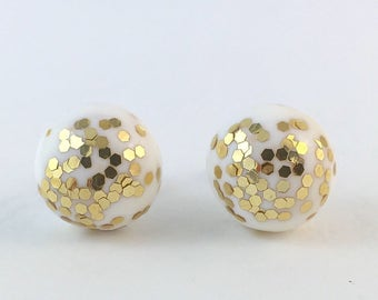 White and gold glitter polymer clay stud earrings on surgical steel posts stud earrings sparkly gold earrings round earrings clay earrings