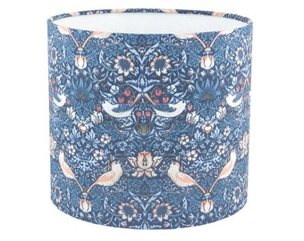 William Morris blue Strawberry Thief fabric lampshade UK/EU/US pendant (ceiling) or table lamp fitting