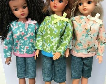 Pretty cotton top and clam digger short sets for Sindy, Barbie and Princess dolls.