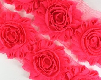 Rosette Trim (by the yard, 1/2 yard or pair) - Neon Pink Shabby Chiffon Flower trim, shabby chiffon  trim, shabby rosette trim, diy headband