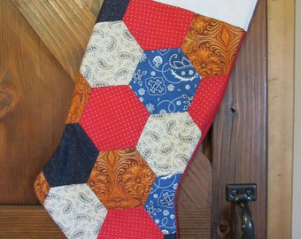 Quilted Christmas Stocking, Cowboy Christmas Stocking, Hexi Christmas Stocking,  Cowboy Holiday Decor, Cowboy Gift,  Cowboy Christmas
