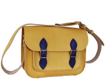 Yellow Satchel Yellow Handbag Yellow Bag Leather Bag Yellow Leather Bag