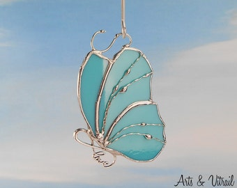 """Turquoise butterfly LOVE , stained glass suncatcher - body LOVE INFINITY - 4 """"x 3"""" (9.6 x 7 cm)  with decorative wire"""