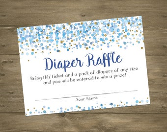 Blue Gold Confetti Baby Boy Sprinkle Shower Diaper Raffle Insert Cards / Watercolor Glitter Sparkle Circles Dots / Whimsical Printable