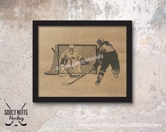 Women's Hockey Ink Sketch Poster Print