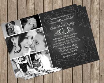 Chalkboard Wedding Invitation, Photo, Card, Digital Print, Printable